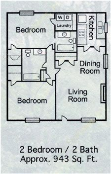 943 sq. ft. B-4 floor plan