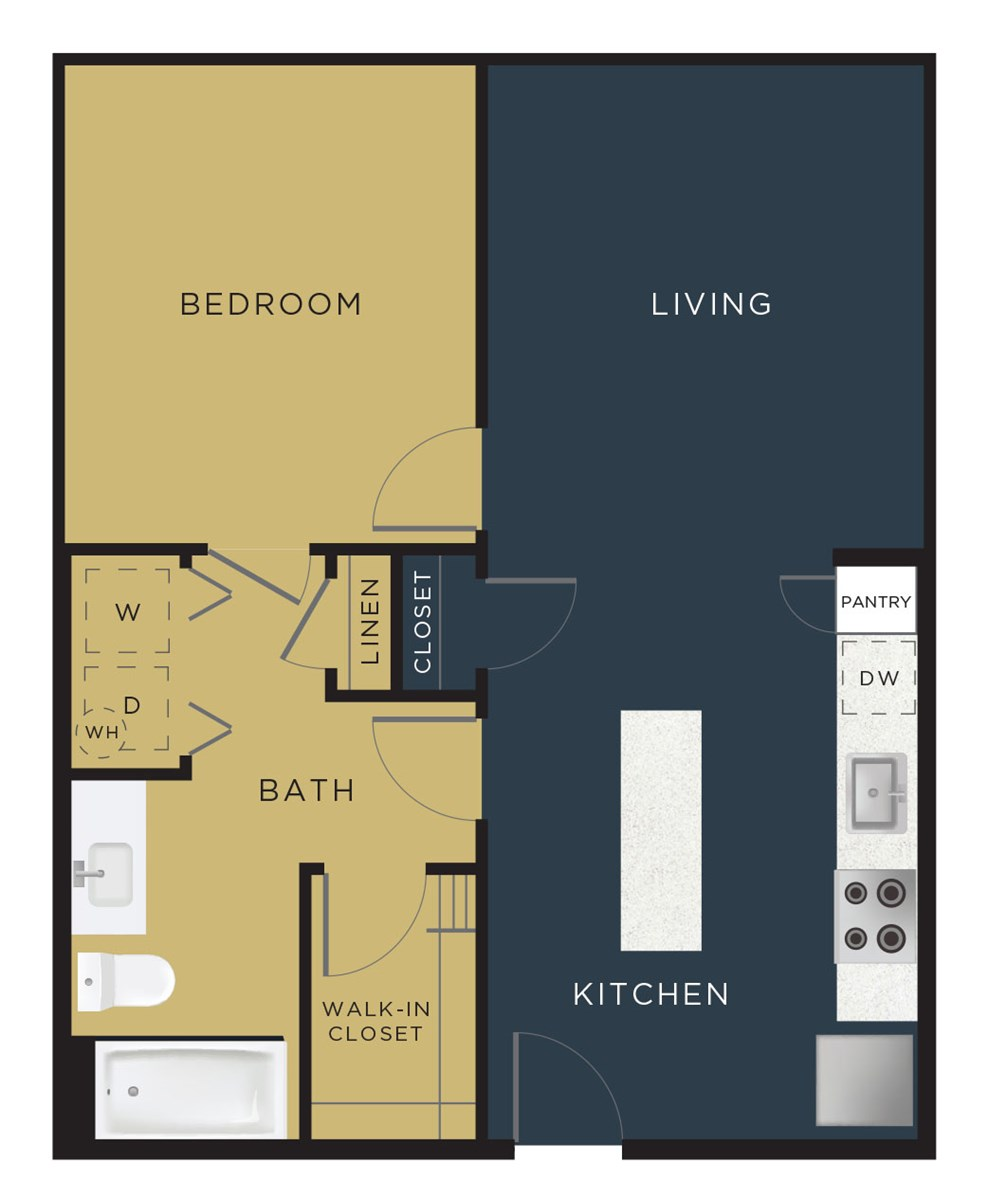 702 sq. ft. to 726 sq. ft. A2-HC floor plan