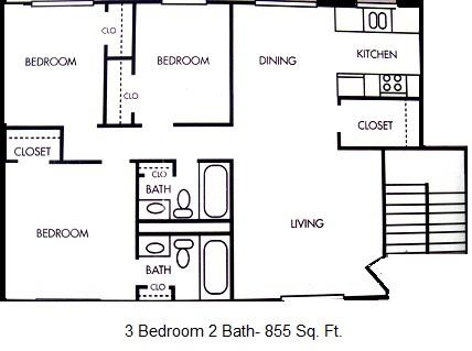 855 sq. ft. floor plan