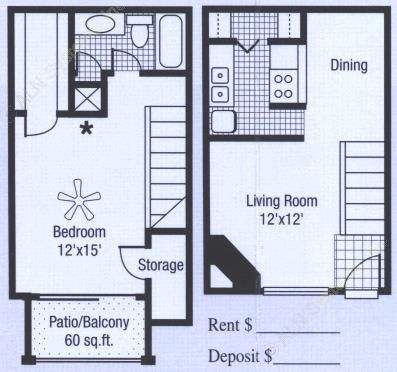 709 sq. ft. to 785 sq. ft. floor plan
