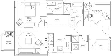 1,119 sq. ft. Q floor plan