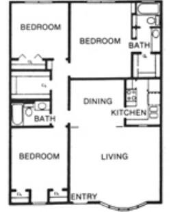 1,320 sq. ft. H floor plan