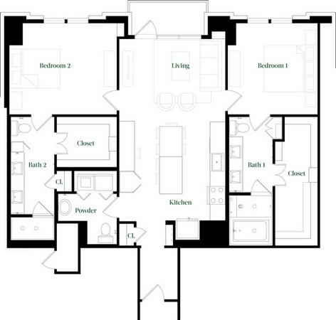 1,401 sq. ft. B45A floor plan