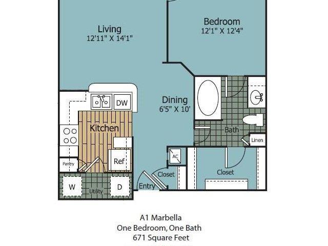 671 sq. ft. Marbella floor plan