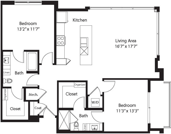 1,236 sq. ft. LD floor plan