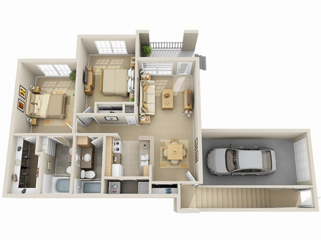 884 sq. ft. C/60% floor plan