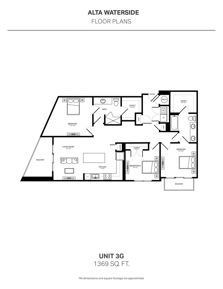 1,369 sq. ft. 3G floor plan