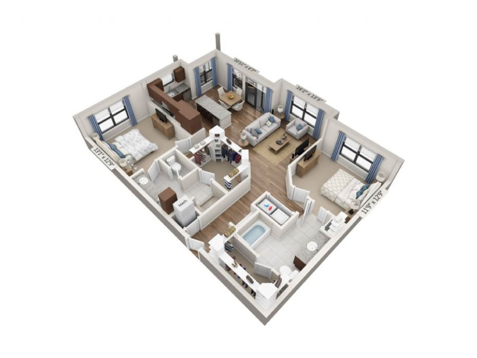 1,325 sq. ft. Sonata floor plan
