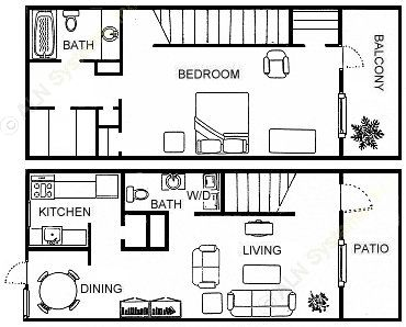 950 sq. ft. A4 floor plan