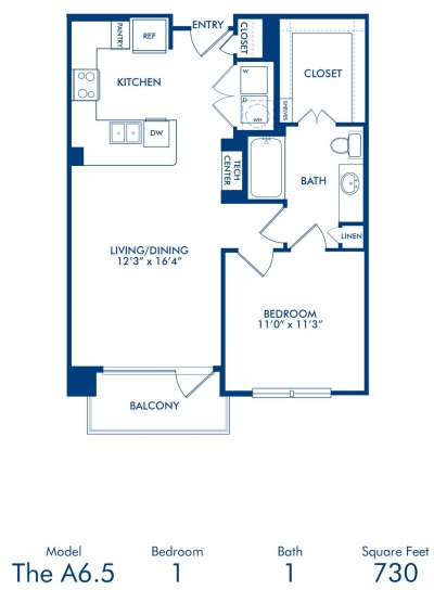 730 sq. ft. A6.5 floor plan