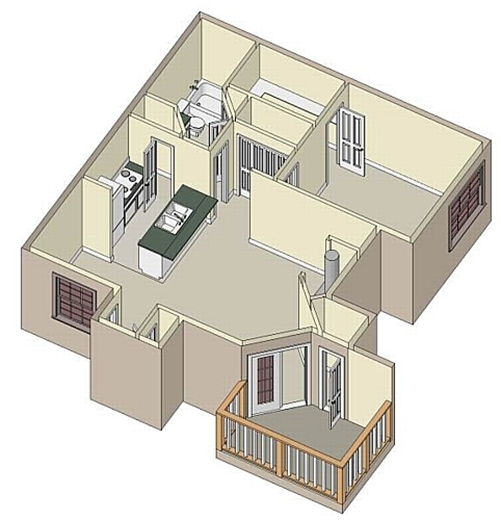 740 sq. ft. Latour floor plan