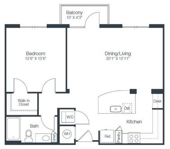 834 sq. ft. A4A floor plan