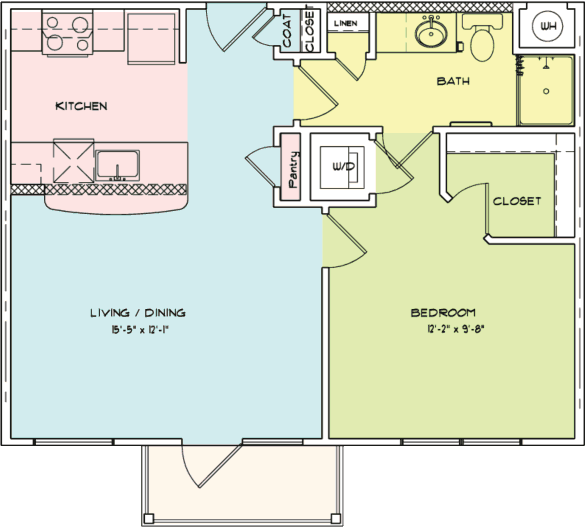627 sq. ft. A4 floor plan