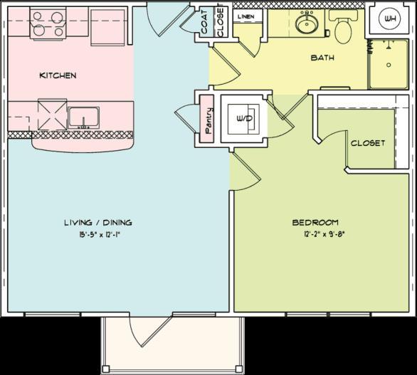 627 sq. ft. A4 floor plan