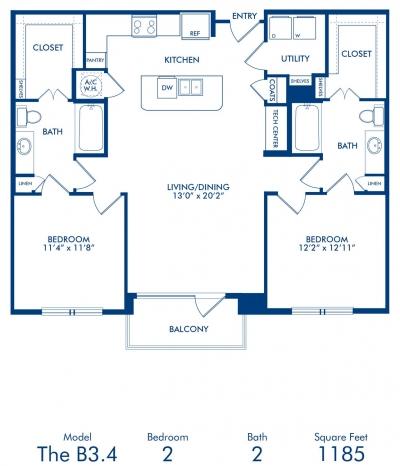1,185 sq. ft. B3.4 floor plan