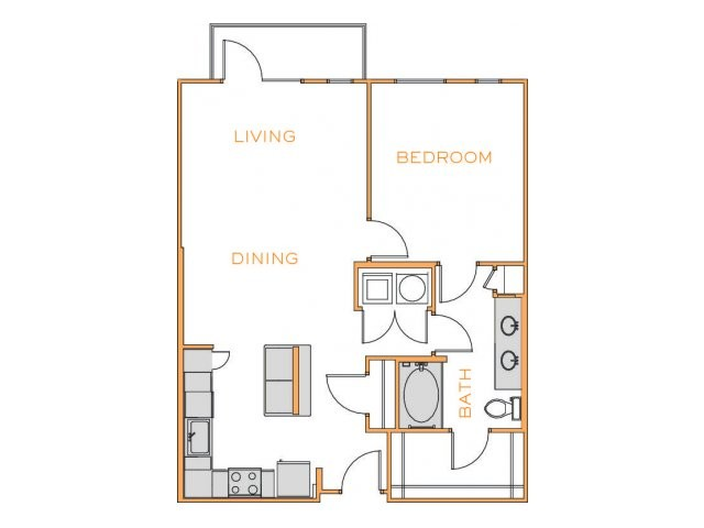 872 sq. ft. Cedar 1 floor plan