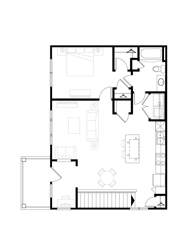 909 sq. ft. floor plan