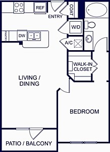 703 sq. ft. ALICANTE ONE floor plan