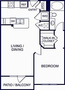 703 sq. ft. Alicante One floor plan