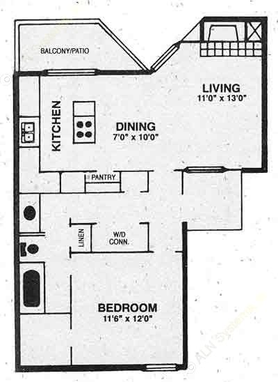 680 sq. ft. A-2 floor plan
