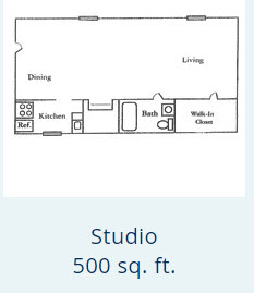 519 sq. ft. Studio floor plan
