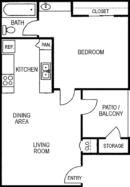 550 sq. ft. A1/50% floor plan