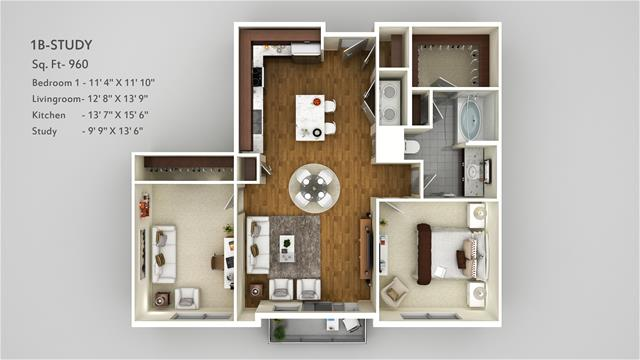 960 sq. ft. 1B STUDY floor plan