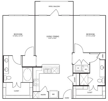 1,109 sq. ft. Balboa floor plan