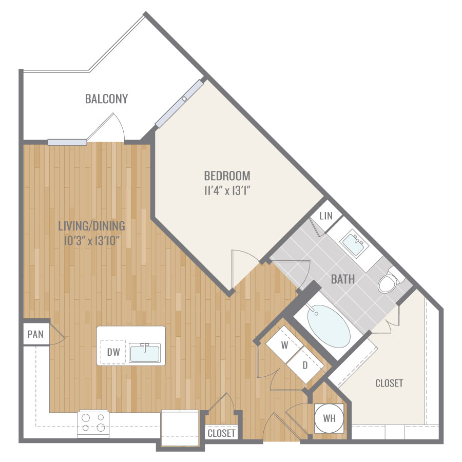 775 sq. ft. A5 floor plan