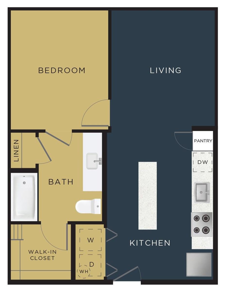 644 sq. ft. A1 floor plan