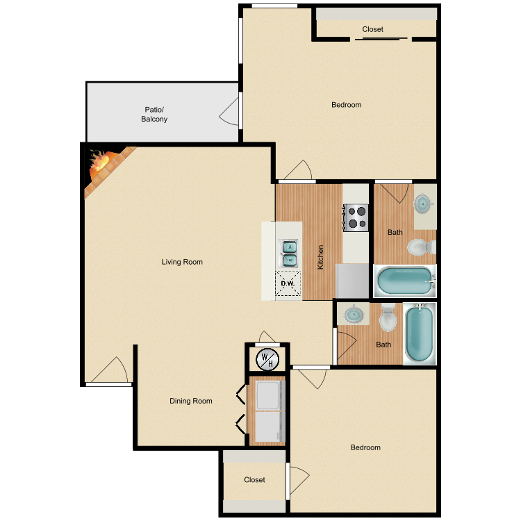 876 sq. ft. B3 floor plan