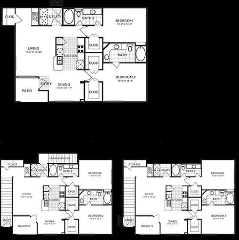 1,183 sq. ft. to 1,216 sq. ft. B5 PH II floor plan
