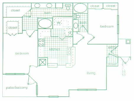 1,174 sq. ft. E1 floor plan