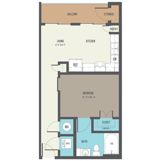 588 sq. ft. A3 floor plan