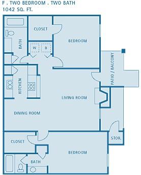 1,100 sq. ft. FRESNO floor plan