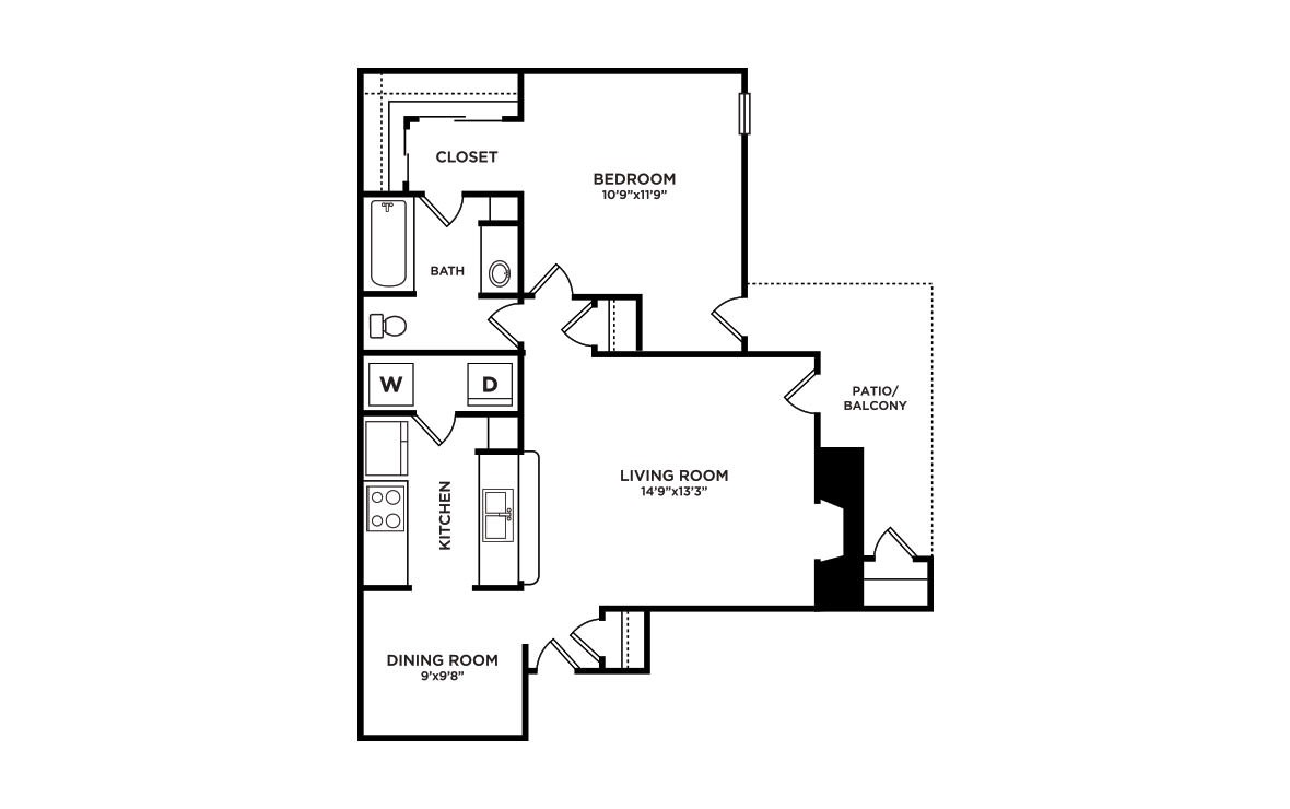 725 sq. ft. A1-Vail floor plan