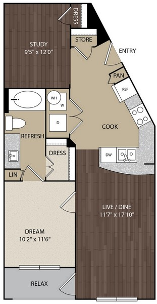 765 sq. ft. A4A floor plan