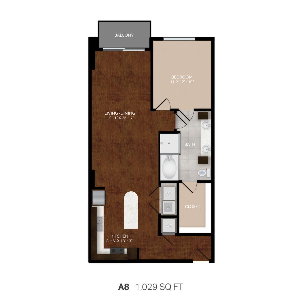 981 sq. ft. A8 floor plan