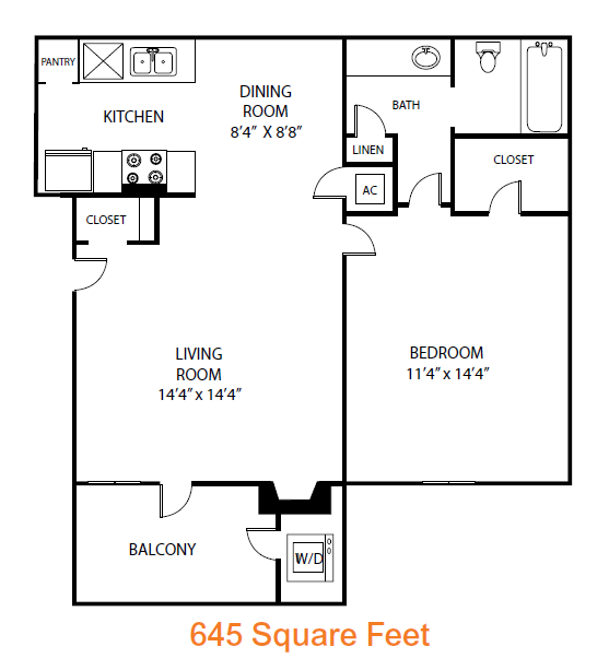 645 sq. ft. Cedar floor plan