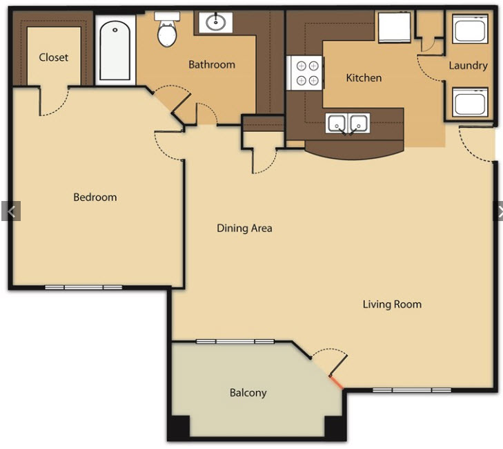 830 sq. ft. A3 floor plan