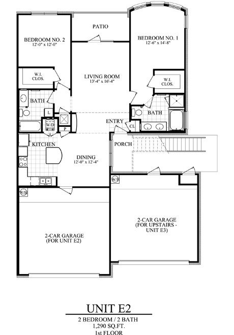 1,290 sq. ft. E2 floor plan