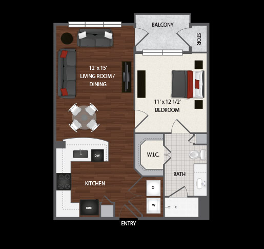 661 sq. ft. to 687 sq. ft. Bella floor plan