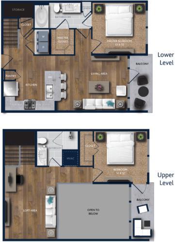 1,268 sq. ft. A5M floor plan