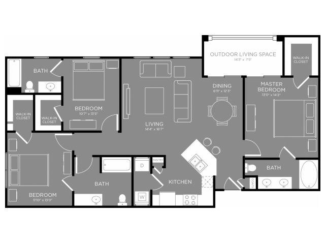 1,408 sq. ft. Orchid floor plan