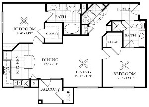 1,068 sq. ft. B2 floor plan