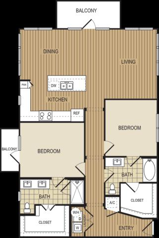 1,309 sq. ft. B6 floor plan