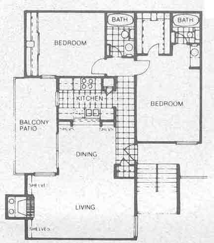 1,028 sq. ft. B4 floor plan