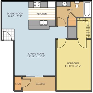 623 sq. ft. Bluebonnet floor plan
