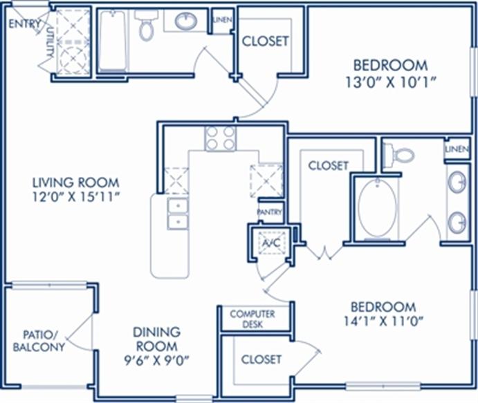 1,095 sq. ft. G floor plan