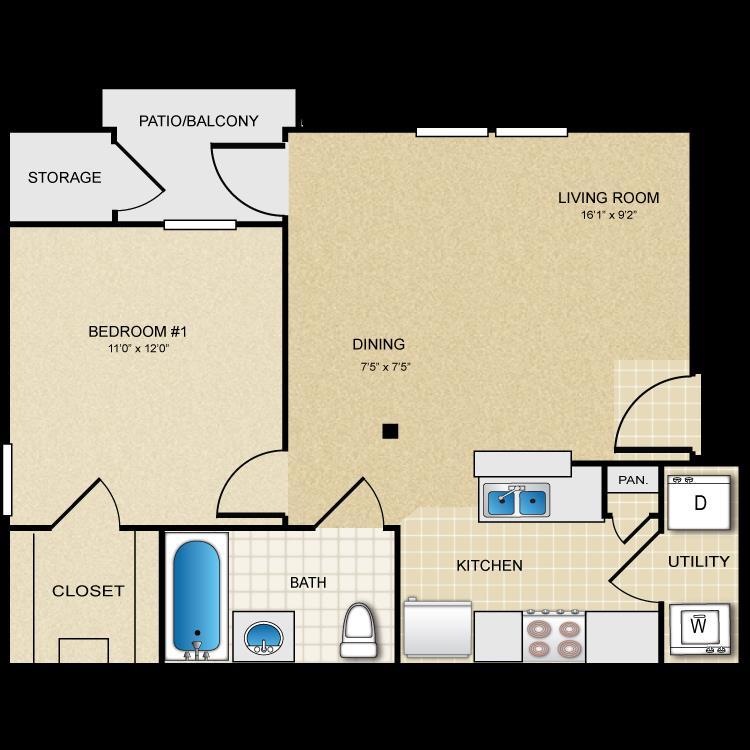 590 sq. ft. A1 floor plan